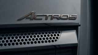 """Actros"" lettering in dark chrome at the front"